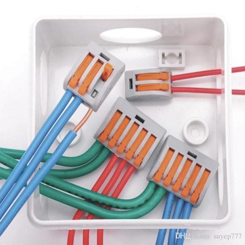 250 pezzi 222-412 413 T-212 213 215 tipo Universal Compact 2 3 5 fili connettore 32A 2 3 5 pin Conductor Terminal Block 2