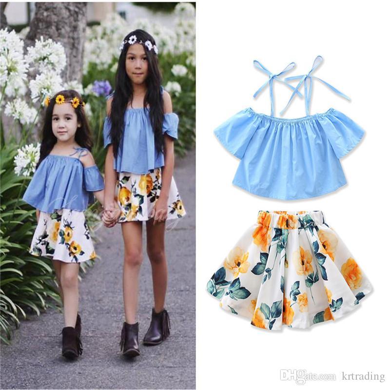 30460d0ce27a3 2019 Girls Boat Neck Halterneck Skirt Set Blue Halterneck Top+Flower Tutu  Skirt Kids Cute Off Shoulder Outfits Children Chic Summer Clothing From  Krtrading