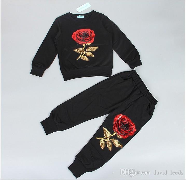 2019 neue frühling herbst mädchen trainingsanzüge kinder rose blume bestickt casual sets kinder sportbekleidung mode mädchen t-shirt + pants 2 stücke anzüge
