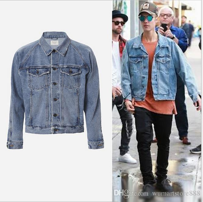 Fear Of God Denim Jackets New Veste Kanye West Men Clothes Hip Hop ...