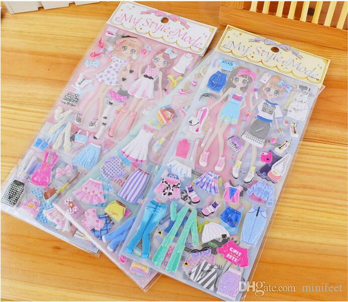 Mixed Designs Children Puffy Stickers Double princess change clothes sticker with epoxy resin cartoon three-dimensional My Style Mode decals