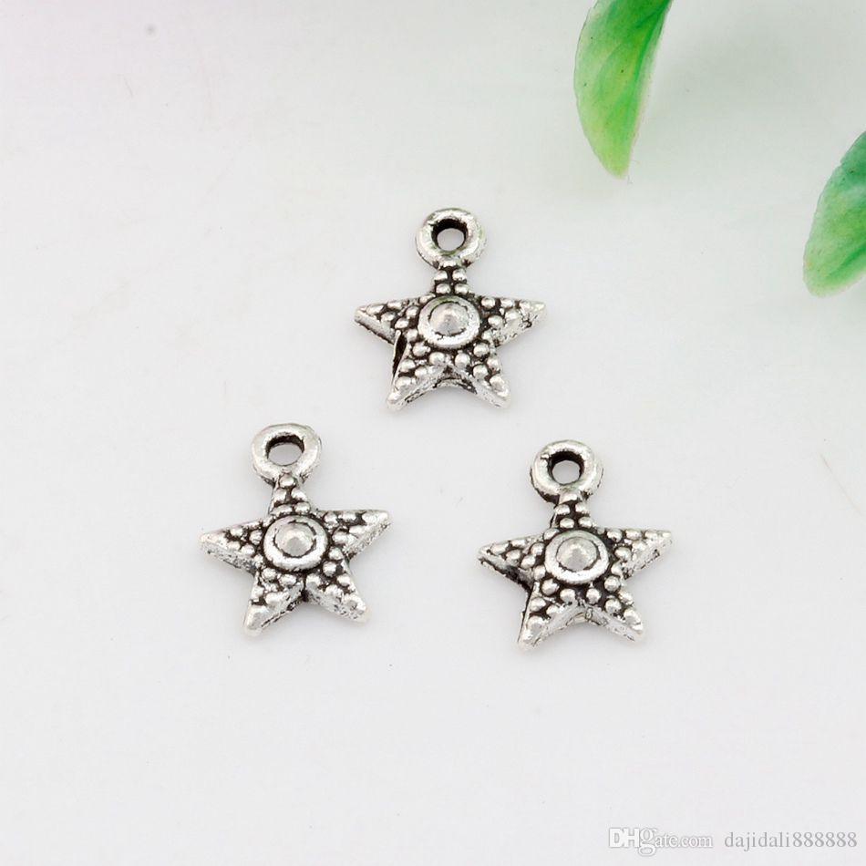 Vente chaude ! vieilli argent zinc alliage simple face charmes d'étoile pendentifs 10 mm x 12 mm bricolage bijoux A-025