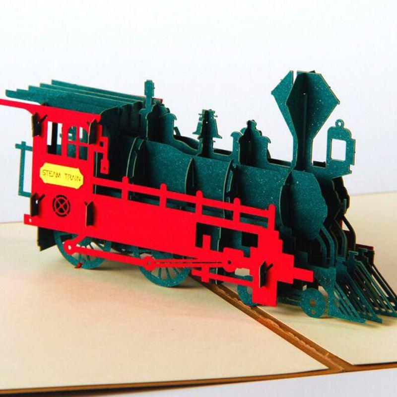 3d Pop Up Train Luxury Handmade Greeting Cards Invitations Birthday