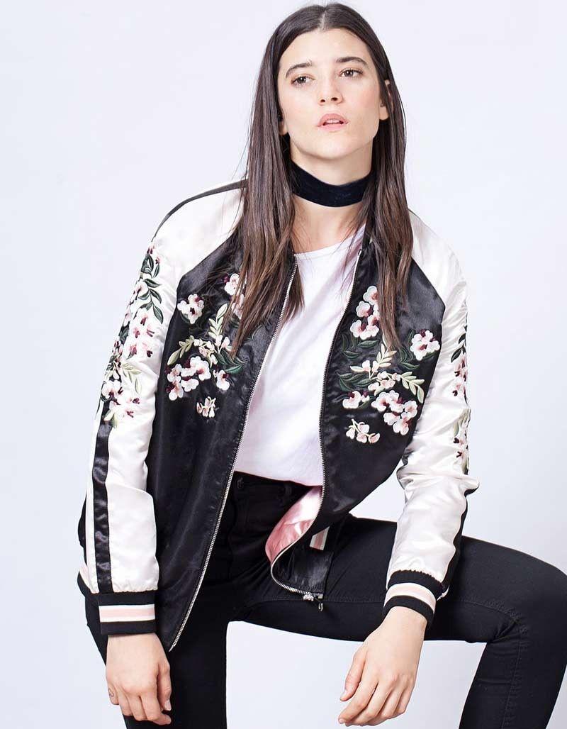 Jacket Women Floral Embroidered Bomber Jacket Satin Black Vintage ...