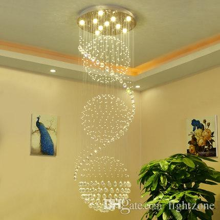 Modern minimalist chandelier crystal chandelier long staircase modern minimalist chandelier crystal chandelier long staircase lights villa living room chandeliers led rotary hanging lamp k9 crystal swag chandelier twig aloadofball Image collections