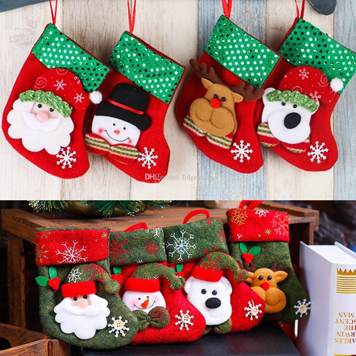 2017 christmas stocking sequin socks gifts sacks candy bags cartoon stockings christmas tree decor santa claus snowman elk bear hot sale christmas - Where To Buy Christmas Stockings