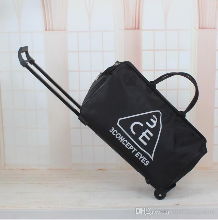 الشحن المجاني قدرة كبيرة حقائب اليد حقيبة TRAVE امرأة أكسفورد طوي حقيبة الأمتعة مع عجلات الأمتعة أكياس سعة كبيرة محفظة السفر