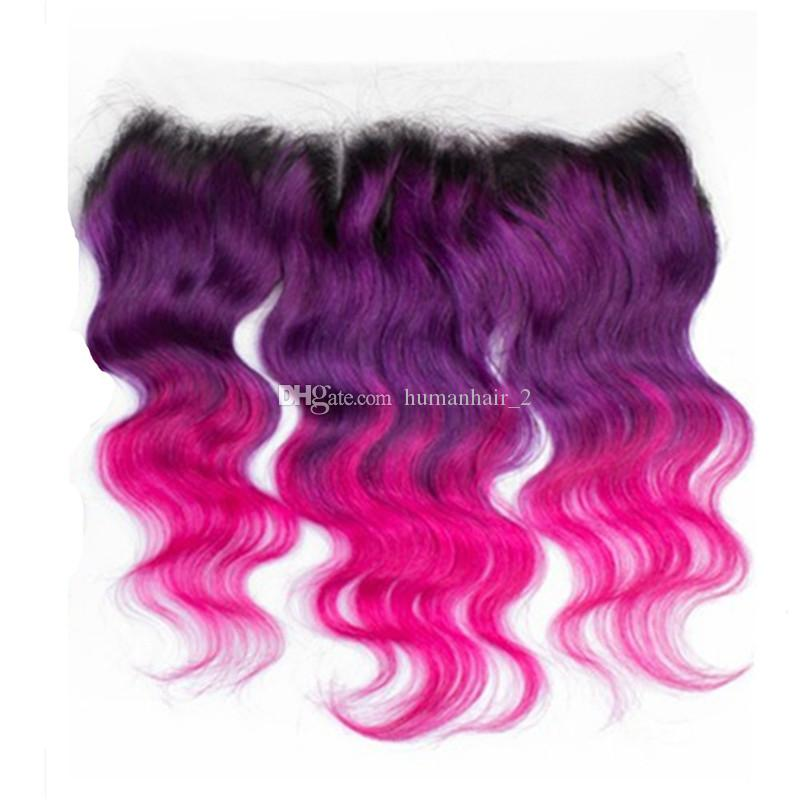 Three Tone Human Hair Wefts With Lace Frontal Closure 1b Purple Pink Ombre Hair With Lace Frontal Closure
