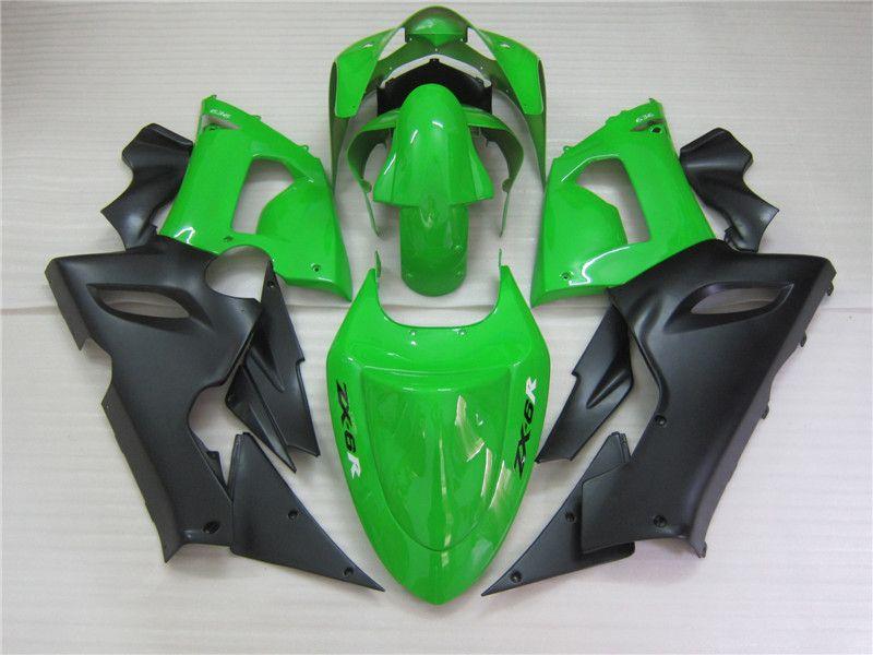 Kit de carenado de piezas de recambio para Kawasaki Ninja ZX6R 2005 2006 verde negro carenados set ZX6R 05 06 OT10