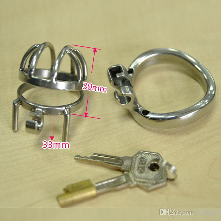New Male Virginity Lock Stainless Steel Super Small Male Chastity Devices Short Penis Cock Cage For Men