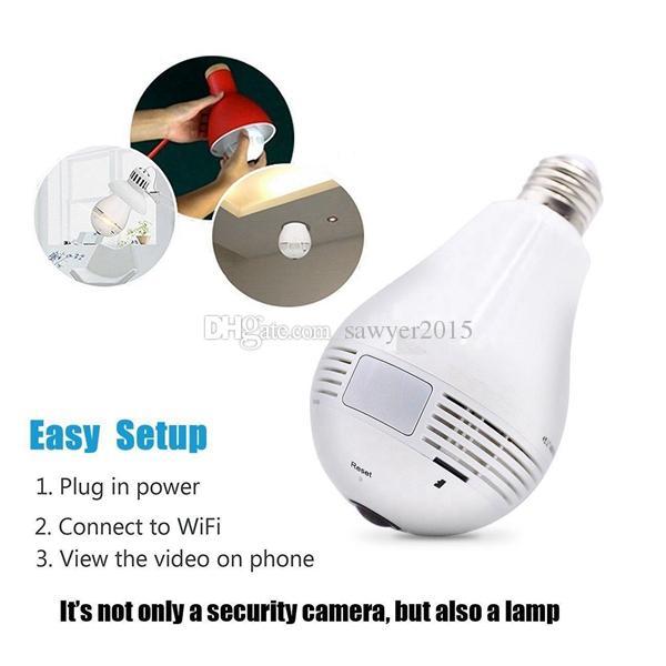 Wireless wifi LED Bulb camera HD 960P Bulb Lamp P2P IP Camera 360 Degree  Fisheye Globe Panoramic Network Camera Home security DVR