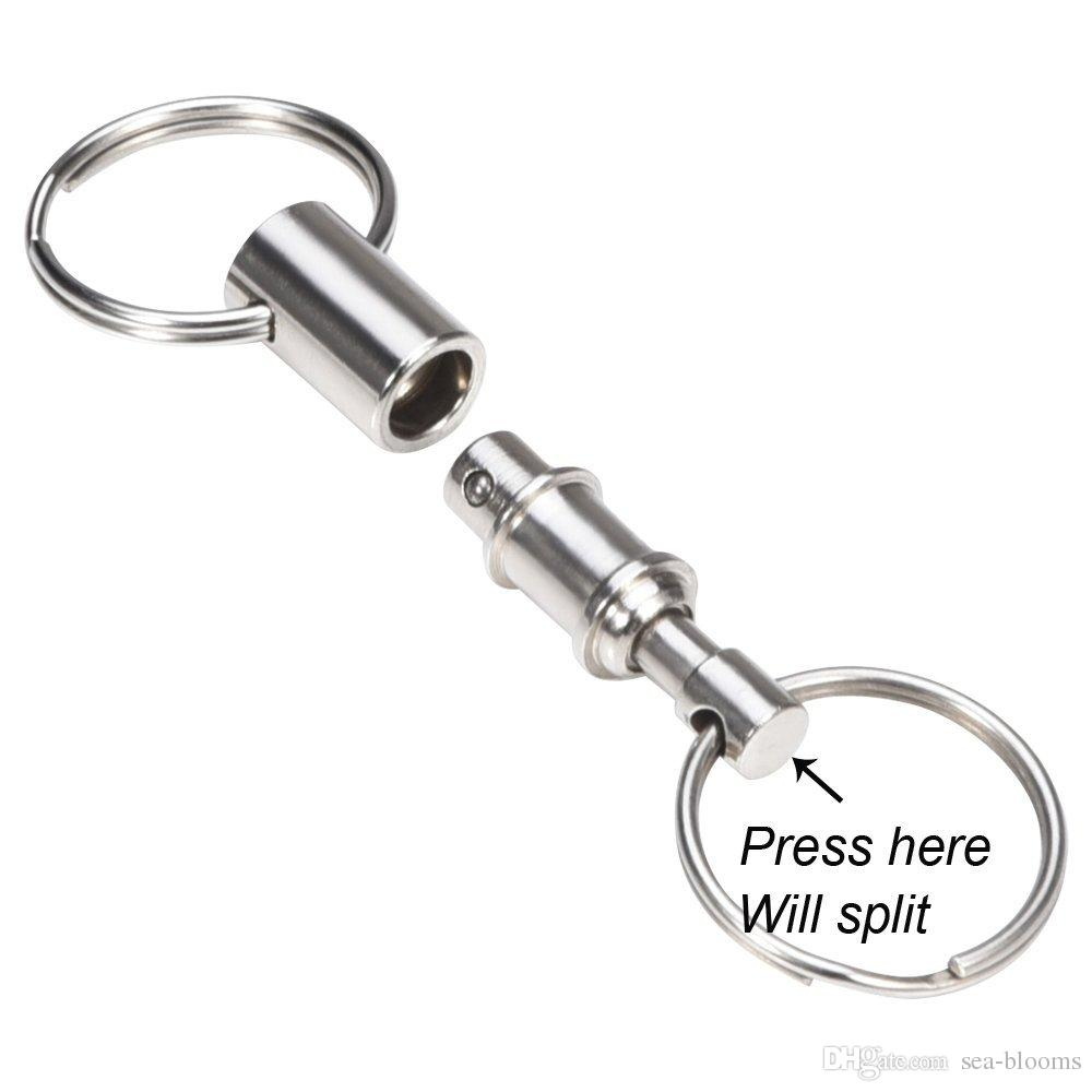 Support FBA Drop Shipping 2 Heavy Duty Dual Key Ring Quick-Release Key Holder Pull-Apart KeyRing EDC Gear B105Q