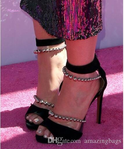 Nouveaux Rivets Clouté PVC Mix Couleur Boucle Sandales À Talons Chaussures De Mariage Sandales Sexy Talons Hauts Pompes D'été Femme Chaussures Stiletto
