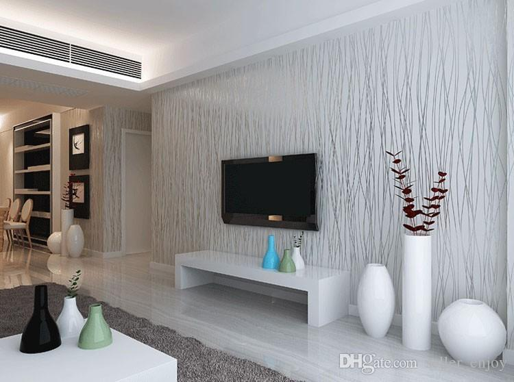 Wholesale non woven fashion thin flocking vertical stripes for Silver wallpaper living room