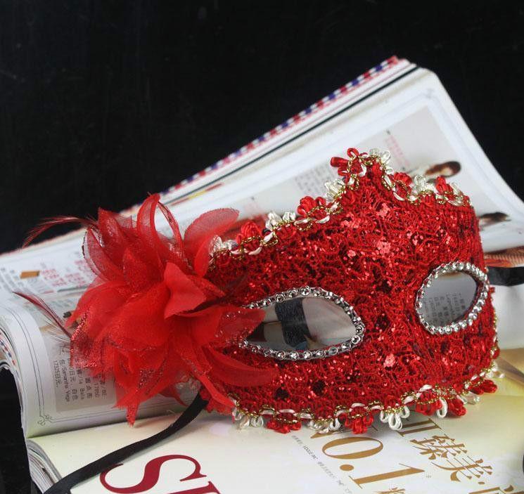 .Neue Exquisite Spitze Strass Leder Maske Masquerade Halloween Party Blume Prinzessin Maske Für Dame Lila Rot Schwarz Gold Rosa Silber Weiß