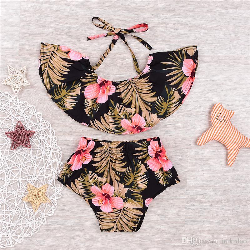 Mikrdoo Baby Flower Set Cute Newborn Kids Girls Off Shoulder Ruffle Crop Tube Tops+Shorts Retro Outfits Sunsuit Top Clothes