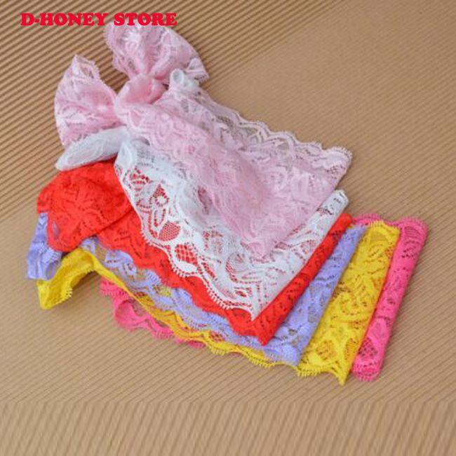 Bebek Saç Aksesuarları Bebek Şirin Kız Çocuk Bow Hairband Turban Kafa Şapkalar Dantel Hairband beyaz pembe mor kırmızı