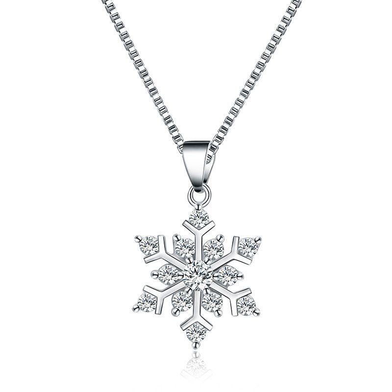 Großhandel Silber Schneeflocke Anhänger Halskette Anhänger Kristall ...