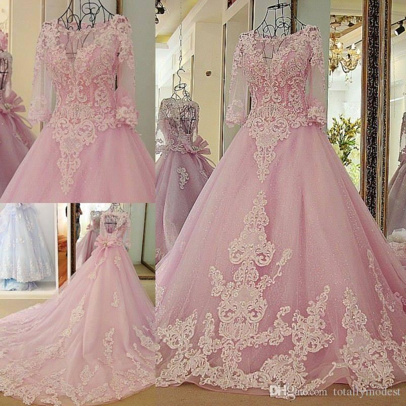 Pink Ball Gown Sexy Colorful Wedding Dresses With 3/4