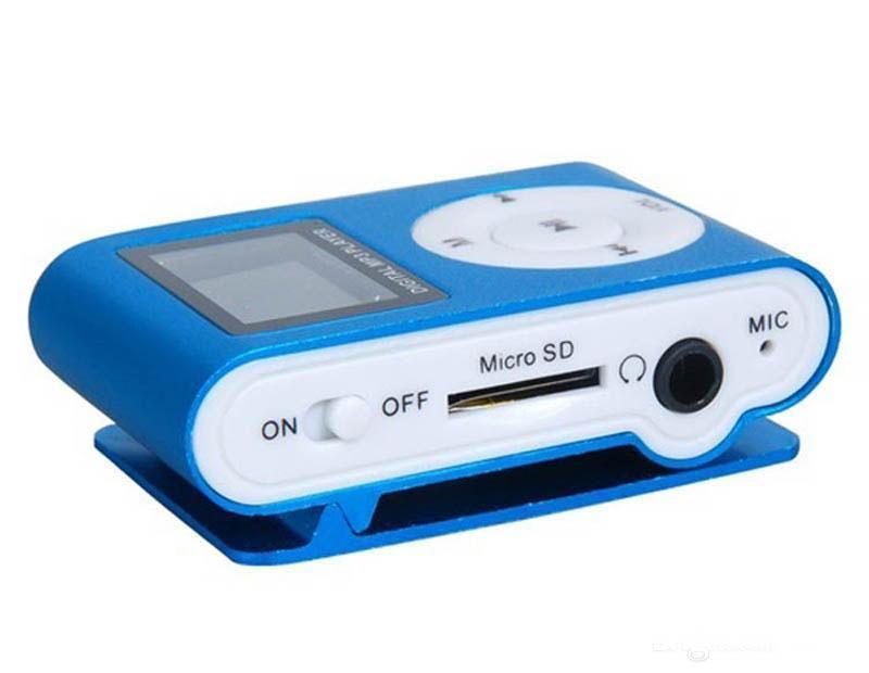 مشغل MP3 ميني كليب ملون مع مشغل موسيقى بشاشة LCD مقاس 1.2 بوصة يدعم بطاقة الذاكرة الرقمية المؤمنة ذات فتحة بطاقة TF وكابل USB مع هدية ب