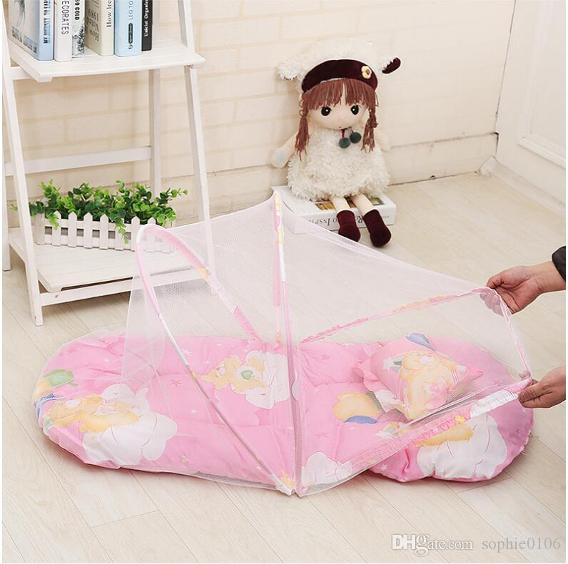 Baby Summer Portable Mosquito Net Baby Crib Folding Mosquito Netting accessories Infant Bed Crib Net Children Pillow without Installation
