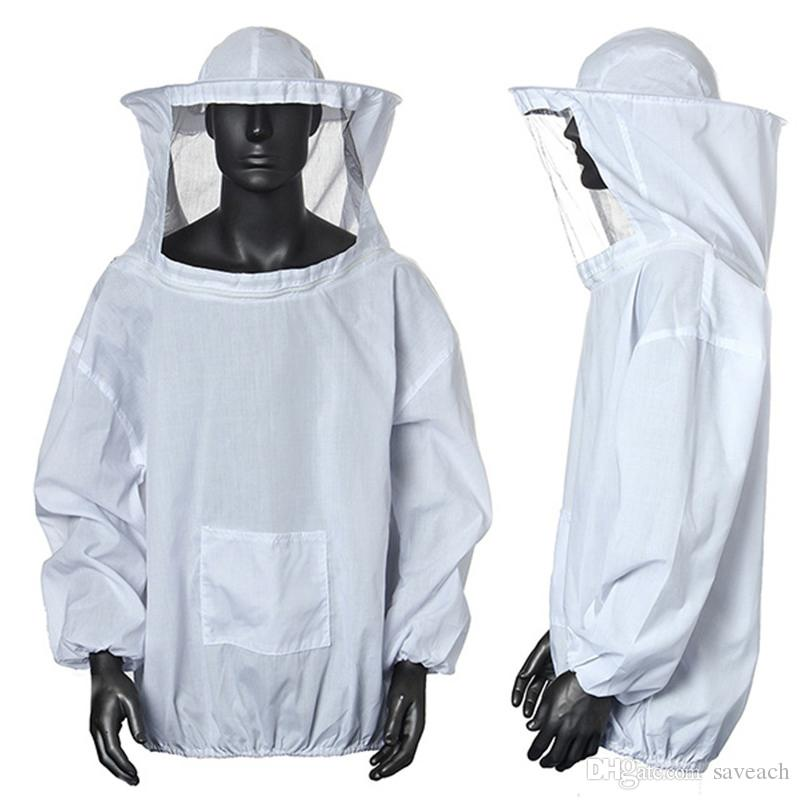 Best Polyester Cotton White Blue Protective Beekeeping Jacket Veil ...