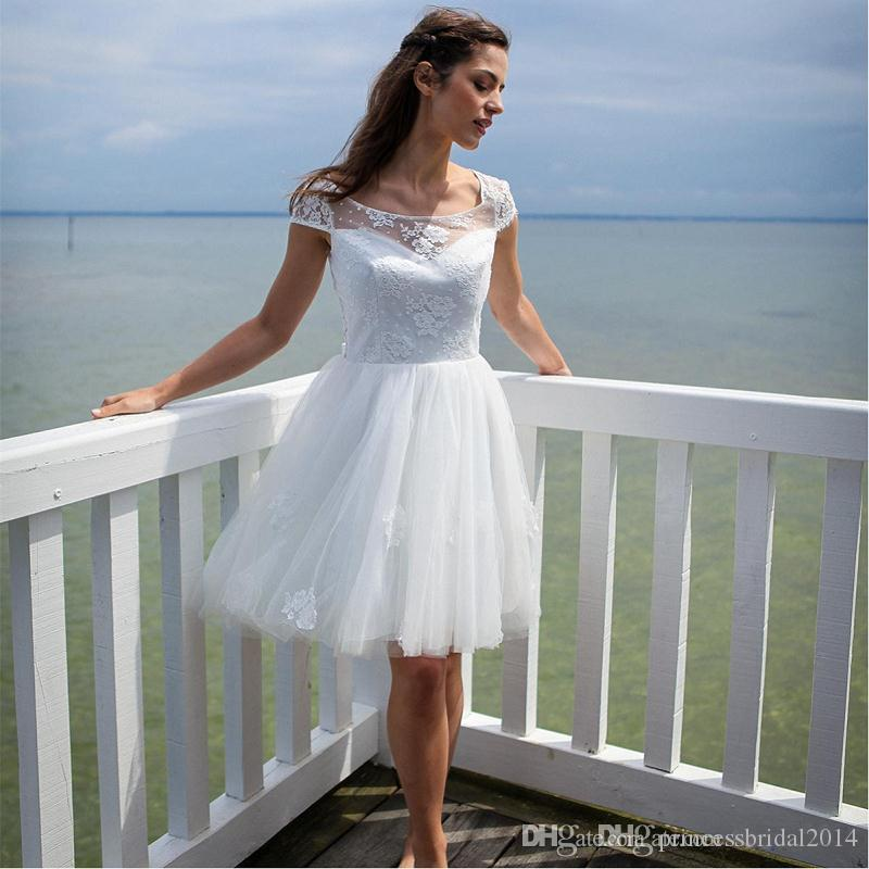 2017 Summer Short Beach Wedding Dresses Cap Sleeve Scoop Above Knee ...