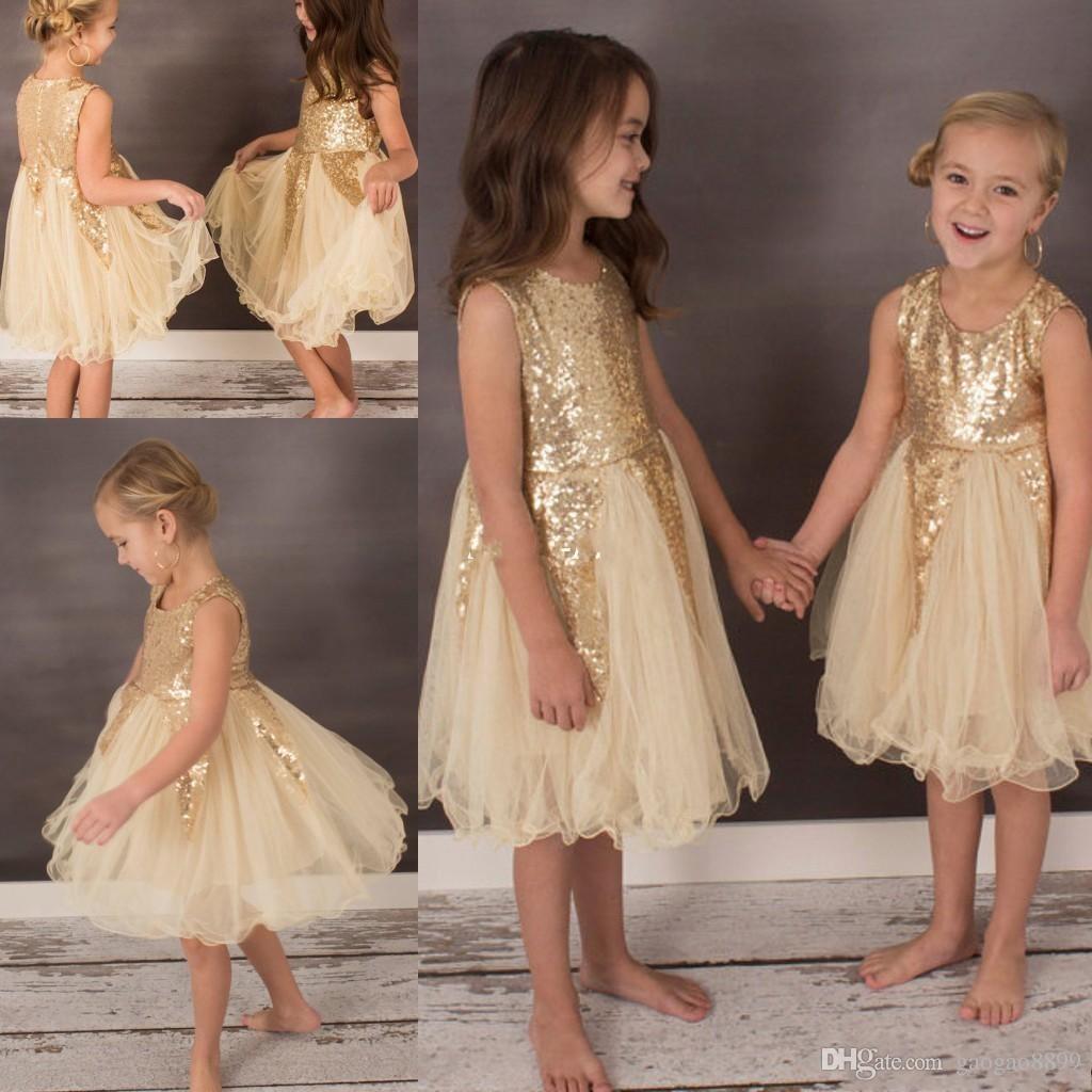 2019 Bling Champagne Flower Girl Dresses for Bohemia Wedding Knee Length Tulle Sleeveless Child Formal Party Dresses for Girls Pageant