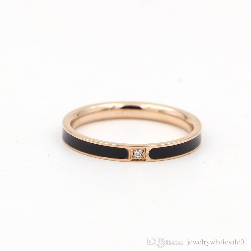 New fashion micro diamond lovers of glue drop of oil on the ring finger ring ring steel rose gold jewelry
