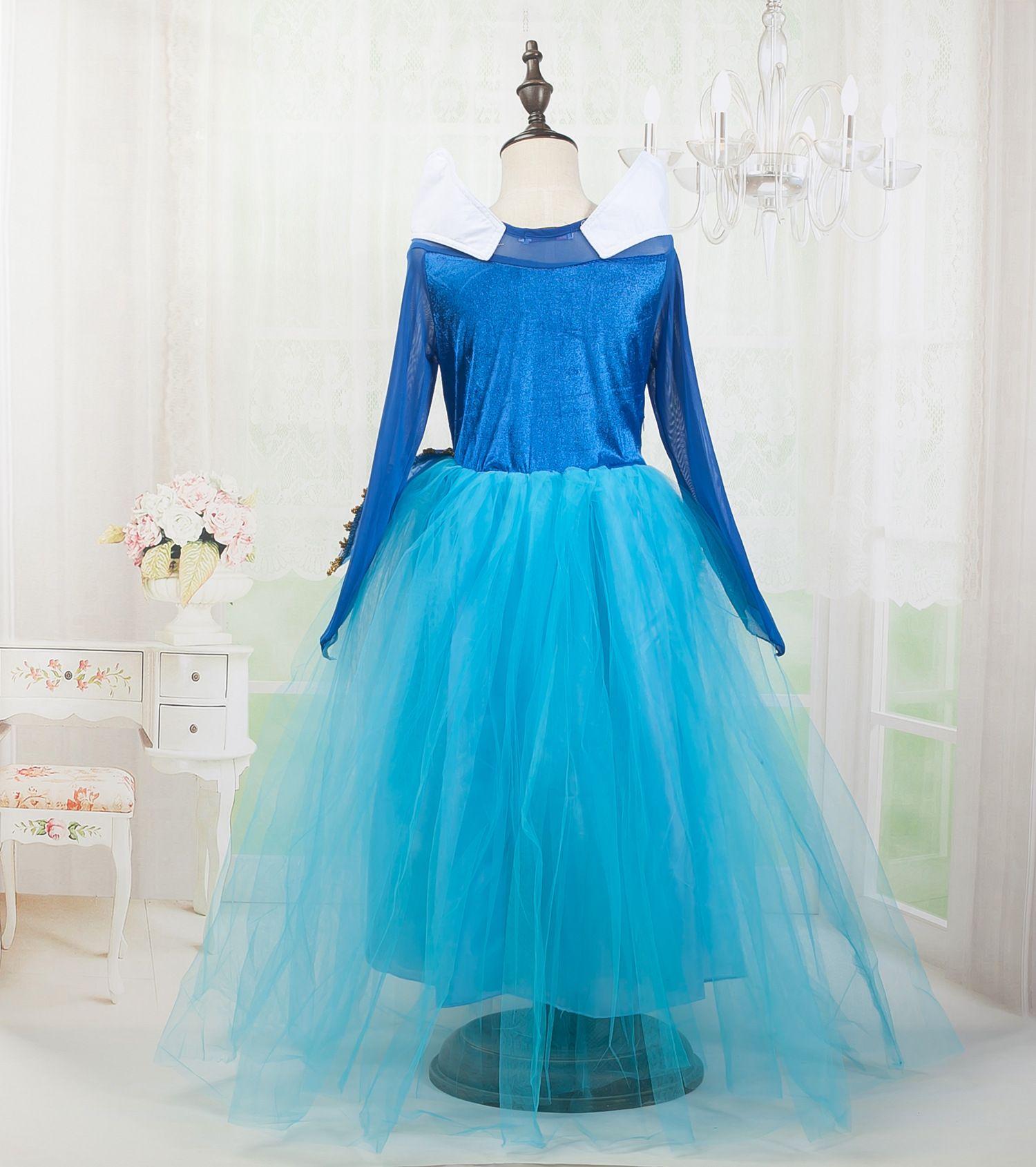 2017 Elegante principessa Dreamlike Gonna Aloha manica lunga blu rosa bambini Beautiful Cenerentola Dress la cena di Natale Cosplay