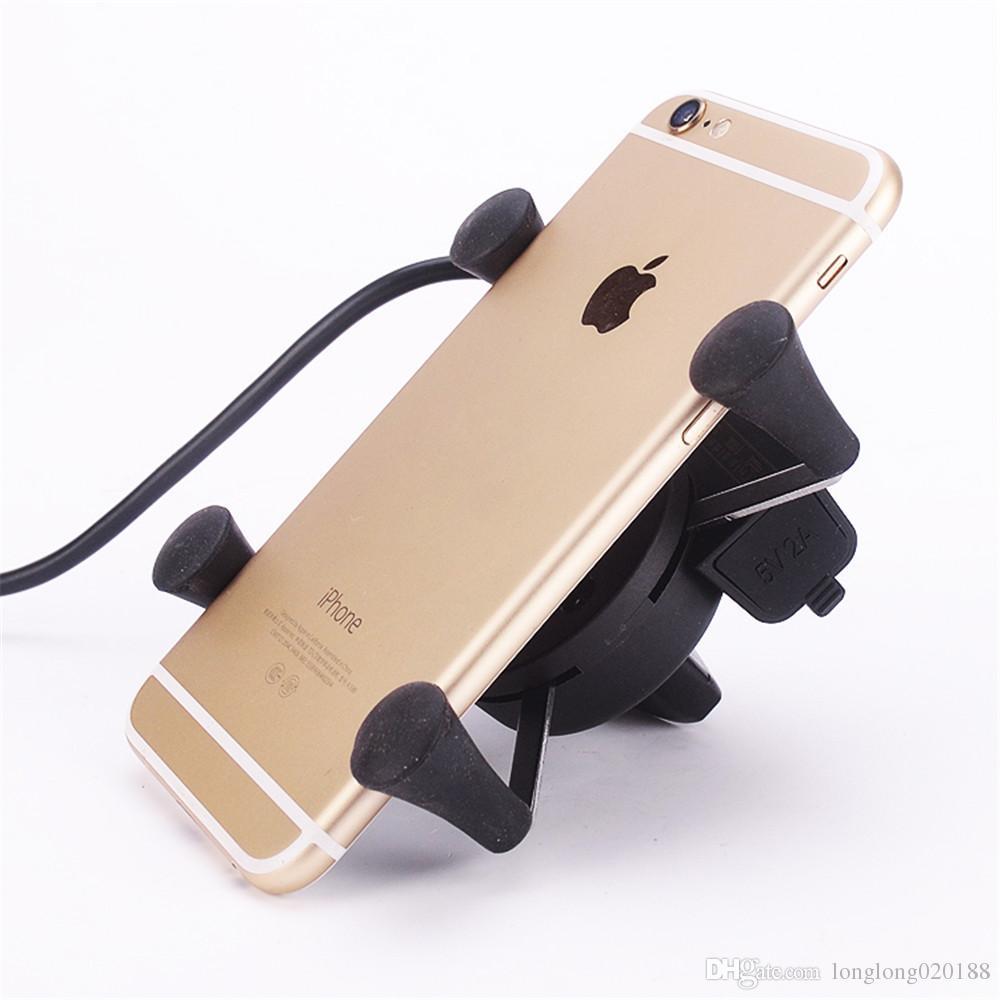 5 V 2.1 Un puerto USB cargador de motocicleta para iPhone Samsung Phones 12 v 22 mm manillar de la motocicleta Scooter teléfono celular soporte de cuna