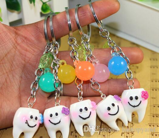 venta caliente accesorios de moda llavero dientes dentales llaveros para promoción regalo de China envío gratis DHL