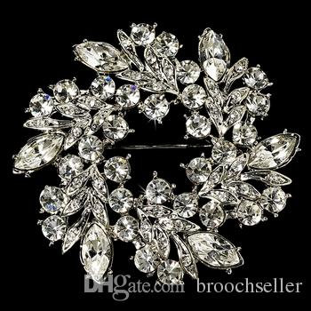 Vintage Silver Clear Rhinestone CZ Diamante Krans Bruids Broche Pin