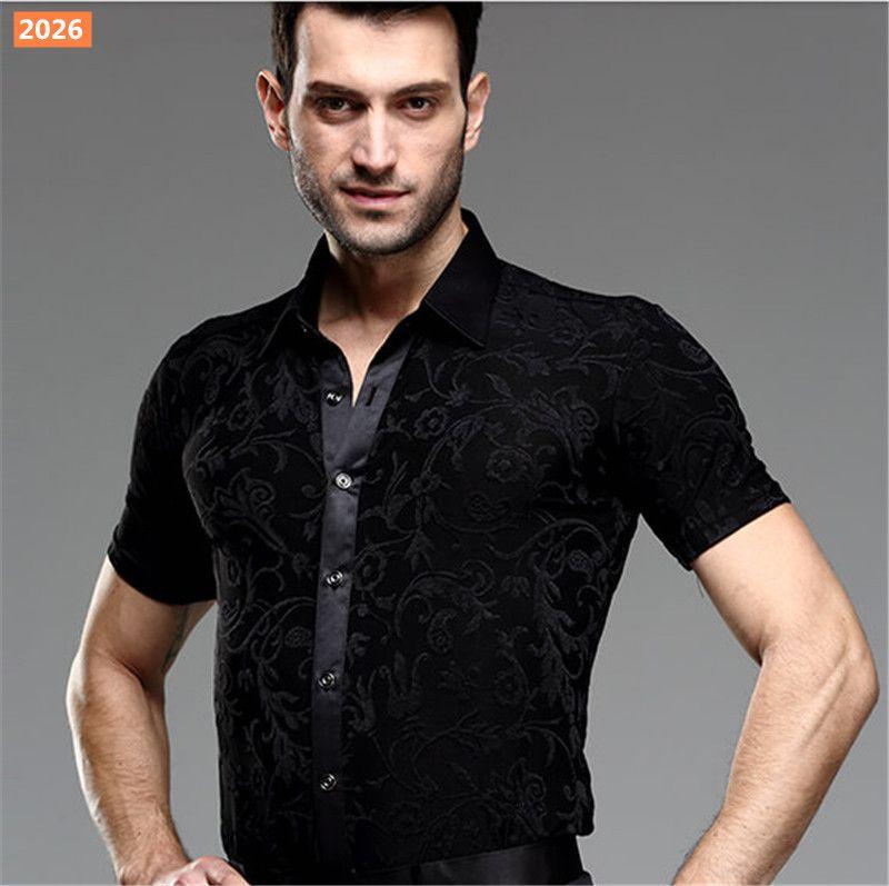 4c5d5a432a17 2019 New Men Party Ballroom Latin Tango Salsa Modern Waltz Standard  Competition Practice Dance Shirt Top Black Short Sleeve Shirt Size39 43 010  From Lanuer, ...