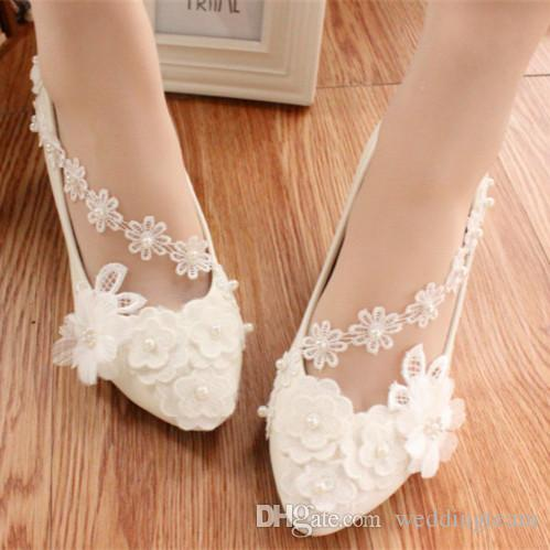 4546159fd3be New Arrival Cheap Flat Pearls Wedding Shoes For Bride 3D Floral Appliqued  Prom High Heels Lace Ankle Strap Plus Size Bridal Shoes White Satin Wedding  Shoes ...