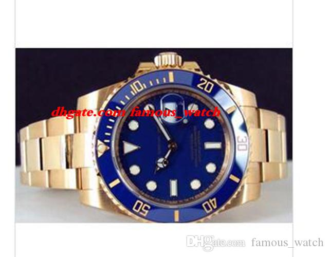 Neue Art und Weise Luxus-Edelstahl-Armband Gelbgold Blau Keramik 116618LB Dial - UHR CHEST 40mm Mechanische MAN-Uhr-Armbanduhr