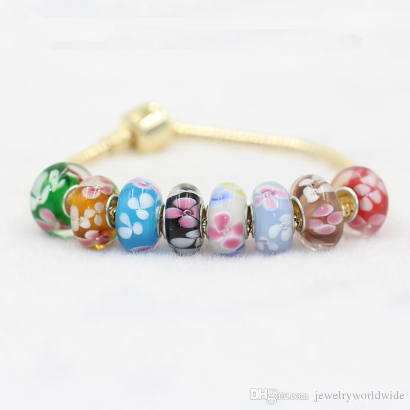 Many Different Colored Glaze Murano Glass Charm Bead 925 Silver Plated Fashion Women Jewelry European Style For Pandora Bracelet Necklace