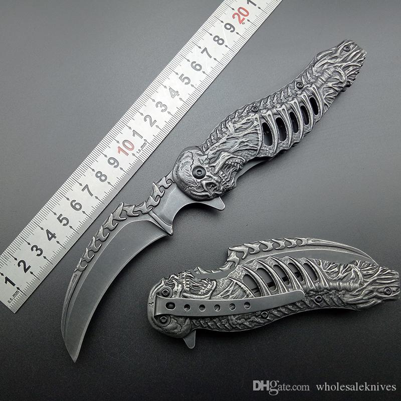 knuckles skull knife Stonewash 440C karambits Assisted Folding Knife Tactical Folding Blade CLaw Knives Free shipping