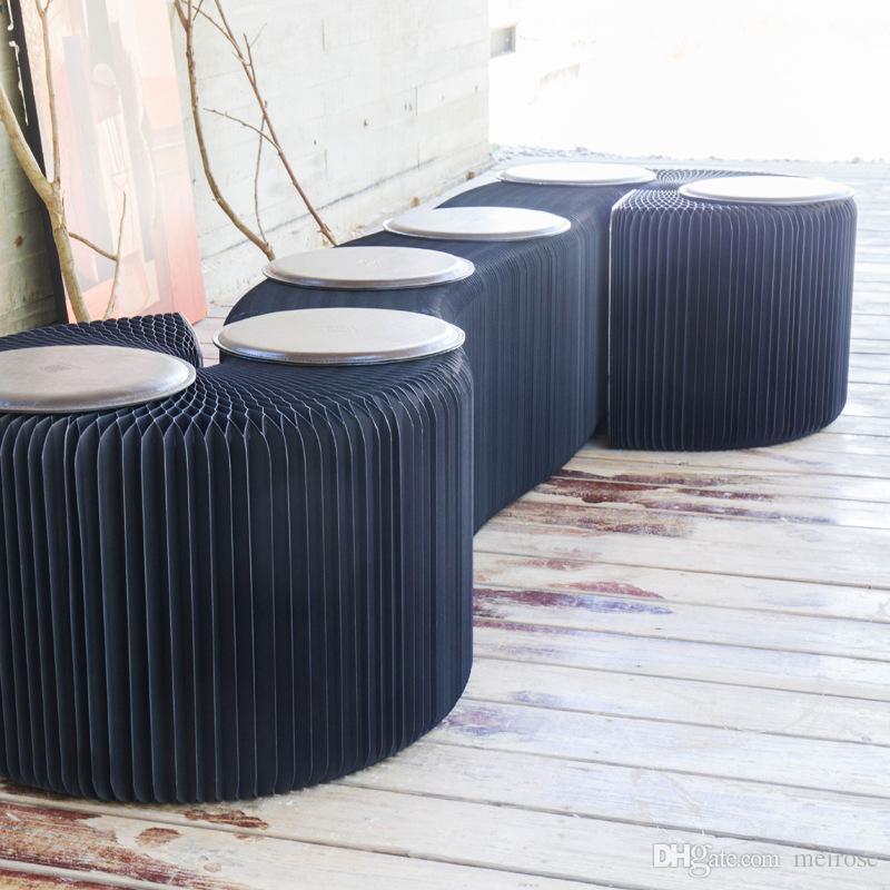 H42xL600cm Novel Inovação Furniture Pop - Bench Inteligente interior Universal Waterproof acordeão estilo dobrável papel Kraft Sofá 9 lugares
