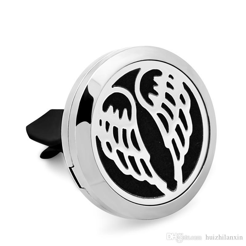 Angel wings Car Perfume Locket Pendant 30MM 316L Stainless Steel Essential Oil Diffuser Perfume Locket With Free Pads