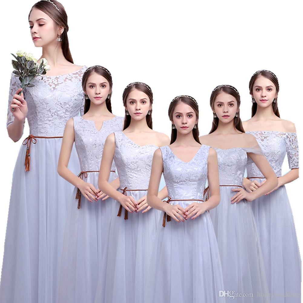 Bridesmaid dresses long gray tulle lace top 6 styles wedding guest bridesmaid dresses long gray tulle lace top 6 styles wedding guest dress real photo country bridesmaids dress cheap 2017 new arrival bridesmaiddresses ombrellifo Images