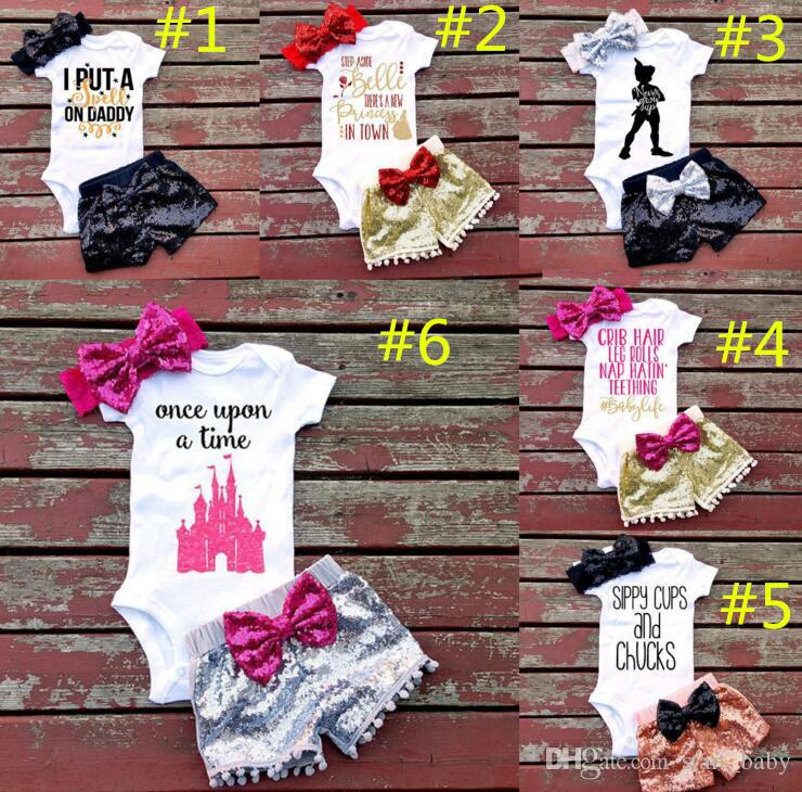 Baby girl INS letras macacão terno 7 Estilo Crianças manga curta triângulo macacão + calções paillette + bowknot faixa de Cabelo define roupas