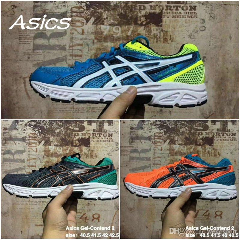 360378e6f870 2019 Wholesale Asics Gel Contend 2 T424N Best Quality Running Shoes Men  Orange Black Blue Original Boots Sport Sneakers Size 40.5 44 From  Wegosport