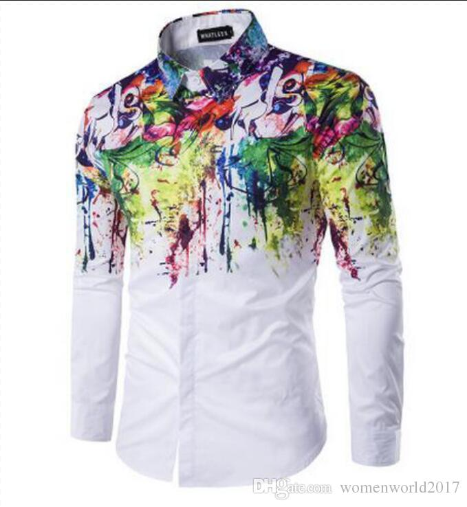 bc4f2ac3e9a 2019 2017 New Men Fashion Shirt Pattern Design Long Sleeve Flower Painting  Style Printing Slim Fit Casual Men Dress Shirts From Womenworld2017