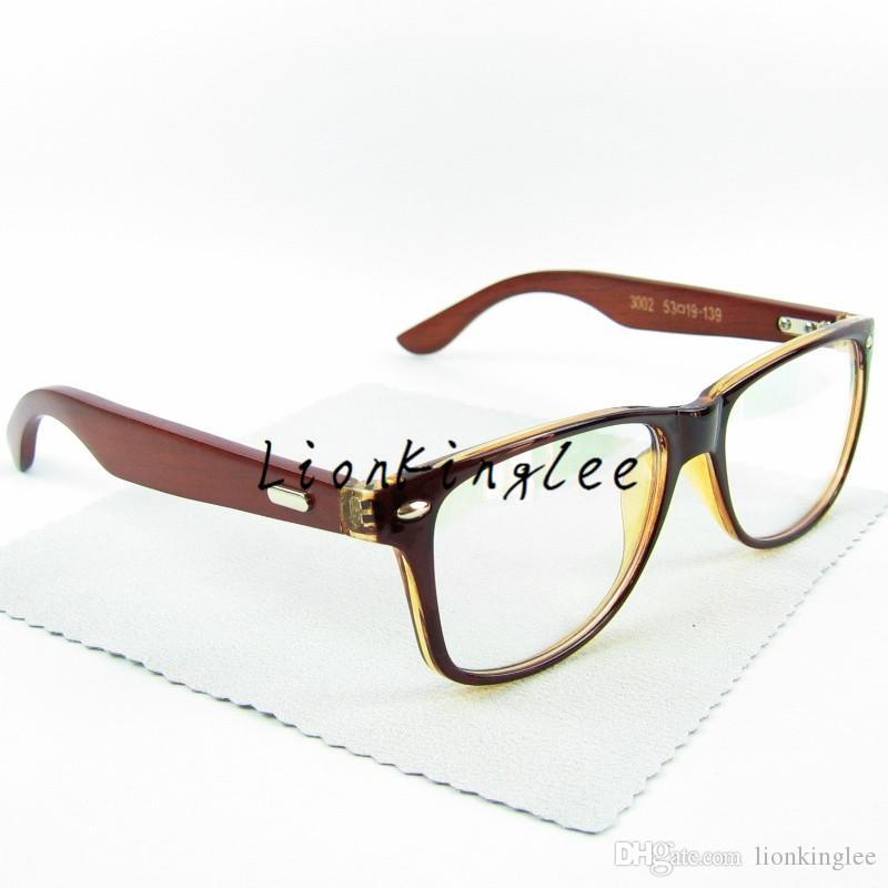 Exquisite Retro Wood Occhiali Occhiali Frame Red Wood Legs Metal Wrap Vintage Eyewear Oculos Custom Optical Clear Lense 3002