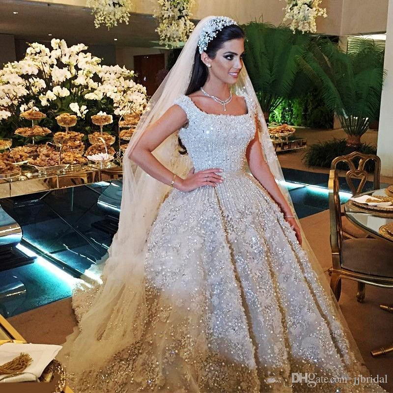 Sparkling Luxurious Dubai Wedding Dress Square Neckline Beaded Sequins Applique Organza Bridal Dresses 2017 Charming Princess Wedding Gowns