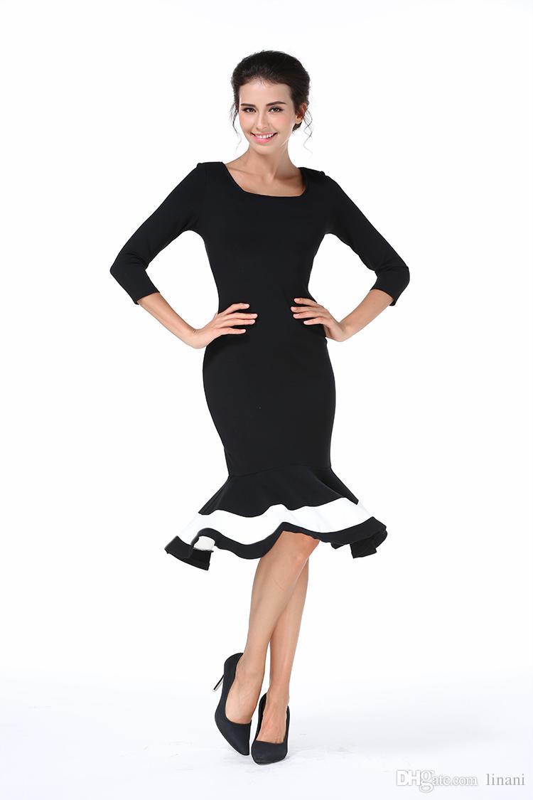 Spring Plus Size Black Long Sleeve Mermaid Prom Dress Panelled