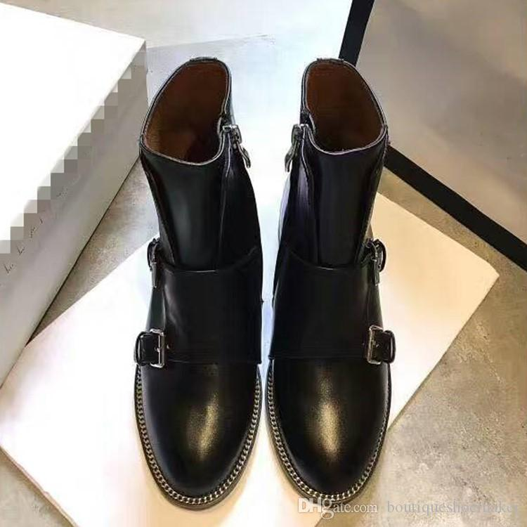 2017 Real Leather Martin Boots Women Round Toe Double Buckle Side Zipper Metal Chain Motorcycle Boots Woman Cool Ankle Boots