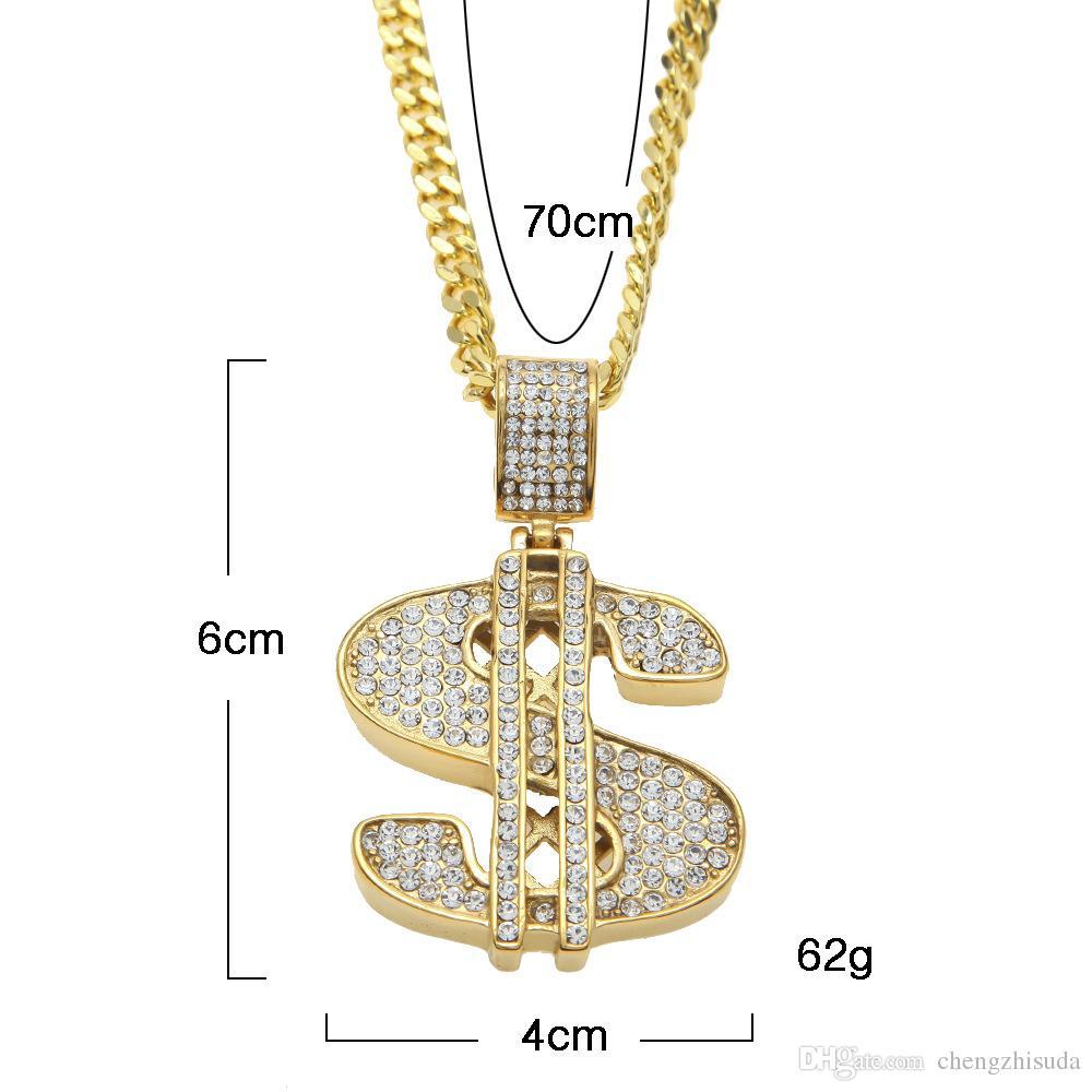 Hip Hop Acciaio inossidabile US Dollar Pendente Collana Luxury Gold Plated Chain Jewelry Accessori donna Collana Collier