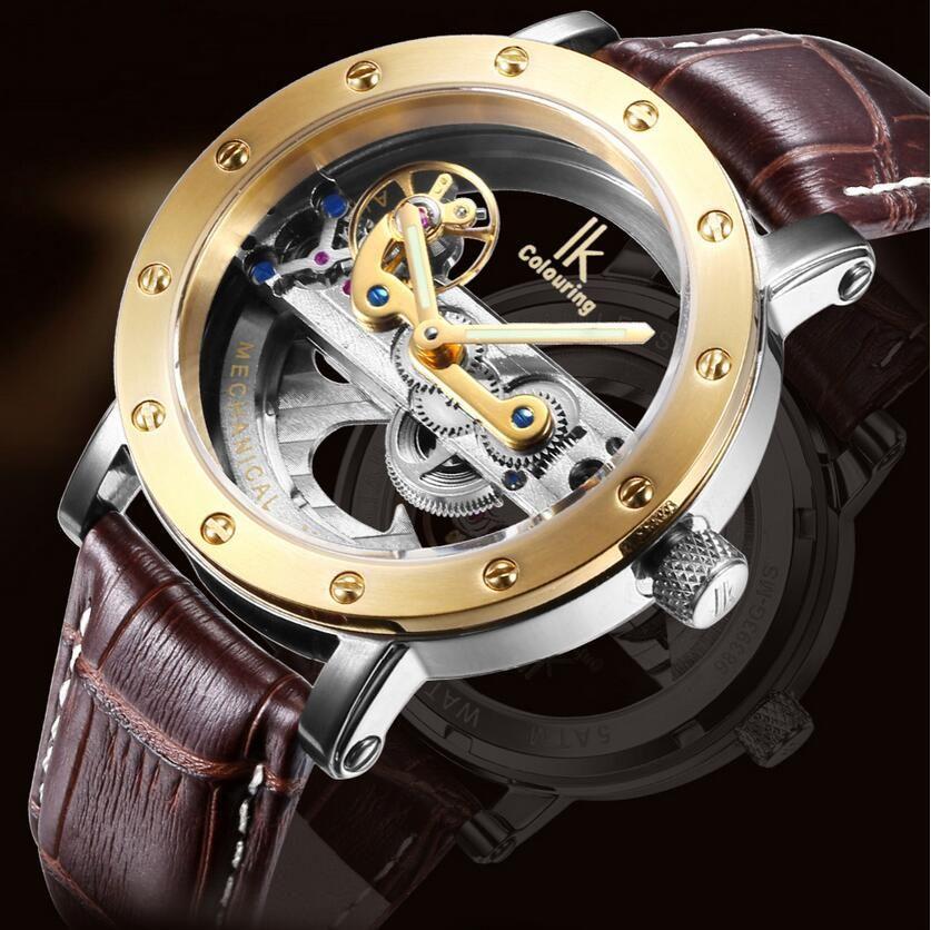 IK окраски 98393G двойной полый стали автоматические механические часы 50 м водонепроницаемый часы